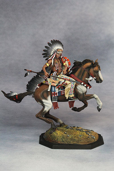 YZ75010 - Mounted Dakotas Warrior with war bonnet 1850. Made by YZCaesar - Piers Christian Toy Soldiers - 4