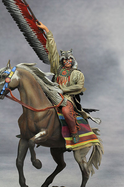 YZ75015 - Scout with Wolf Felt, Sioux Nations 1850s' made by YZCaesar - Piers Christian Toy Soldiers - 5