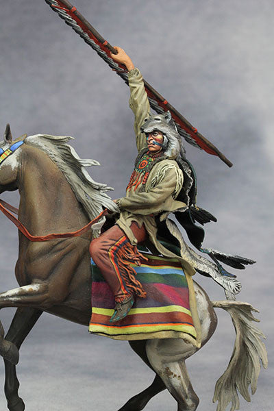 YZ75015 - Scout with Wolf Felt, Sioux Nations 1850s' made by YZCaesar - Piers Christian Toy Soldiers - 6