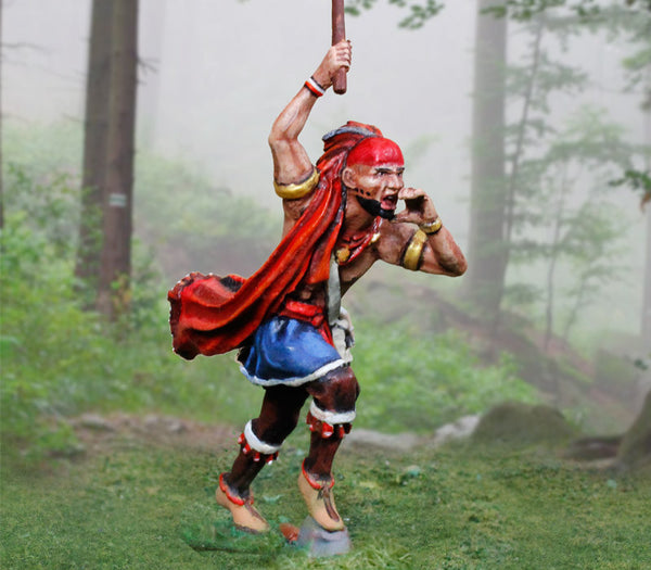 CS00893 - Iroquois Indian running with War Club, AWI British - Piers Christian Toy Soldiers