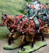 CS00872 - German Heer Infantry limber horse set, WWII Normandy. - Piers Christian Toy Soldiers