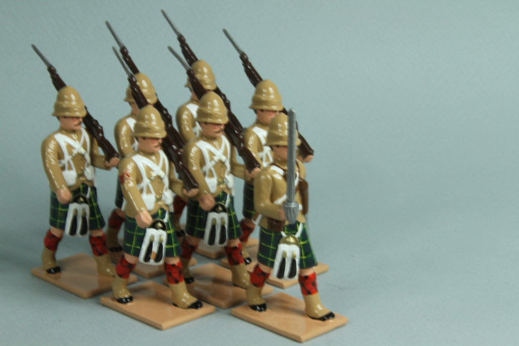 HR10A - Gordon Highlanders in Khaki Tunics, marching - From Regal Toy Soldiers