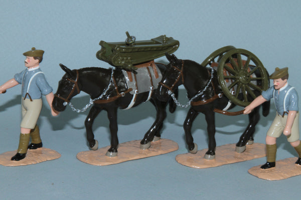 WW290 - 4th Highland (Mountain) Brigade Artillery, RGA, 2.75inch mountain gun Mule Train from Regal Toy Soldiers