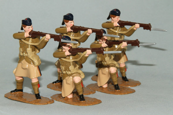WW125 - Black Watch Firing Line  (1914) Set of five British Infantry from Regal Toy Soldiers - Piers Christian Toy Soldiers - 1