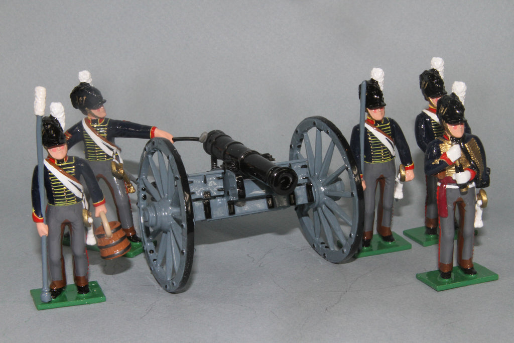 N412B - Royal Horse Artillery, 6 pounder in action at Waterloo. Regal Toy Soldiers