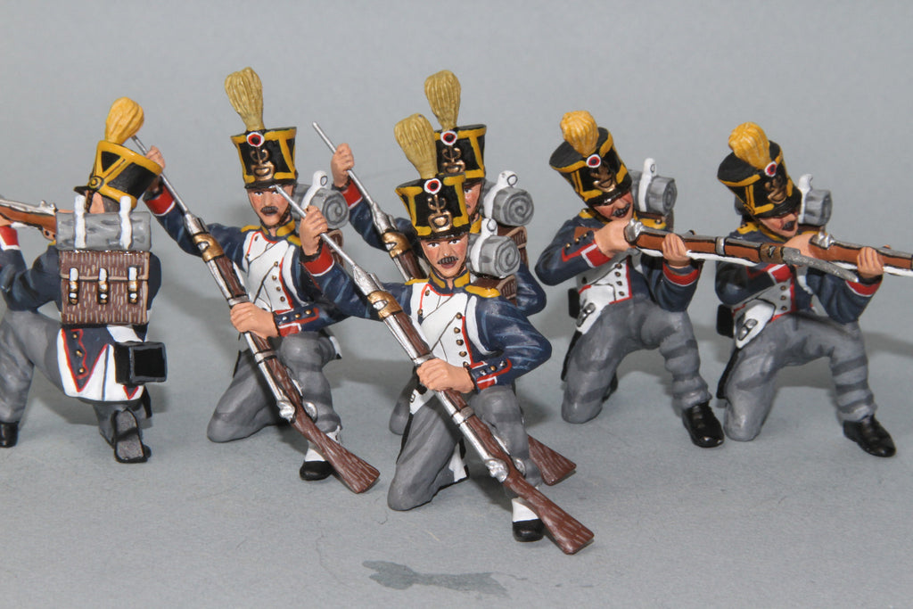 FV1 - French 54th Voltigeur Company, Firing and Loading. Frontline Napoleonic - Piers Christian Toy Soldiers - 1