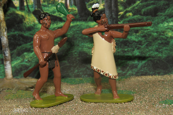 NZA - Set of two Maori Warriors 1844 - 1847, Regal Toy Soldiers - Piers Christian Toy Soldiers - 1