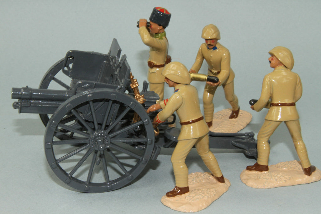 WW82 - Turkish Army (German) Krupp 77mm Artillery Field Gun with four man crew. Regal - Piers Christian Toy Soldiers - 1
