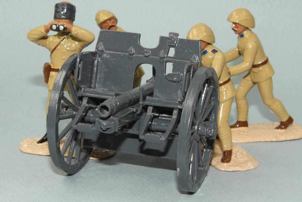 WW82 - Turkish Army (German) Krupp 77mm Artillery Field Gun with four man crew. Regal - Piers Christian Toy Soldiers - 2