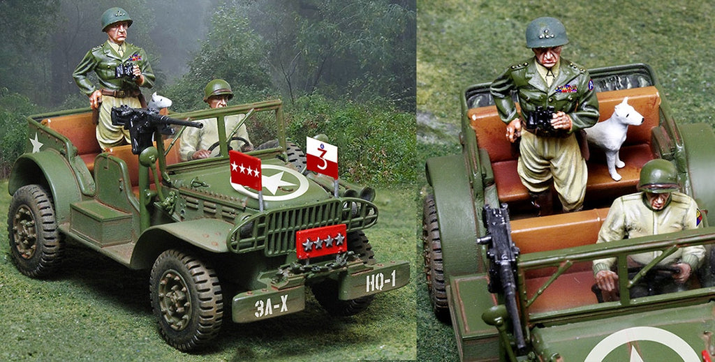 CS00914 -  General Patton's Dodge Jeep with General Patton and Willy. Normandy - Piers Christian Toy Soldiers - 2