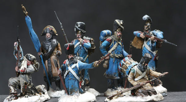 MMSP1 - Set 1 with seven retreating French Napoleonic soldiers by Manes Marzano - Piers Christian Toy Soldiers - 1