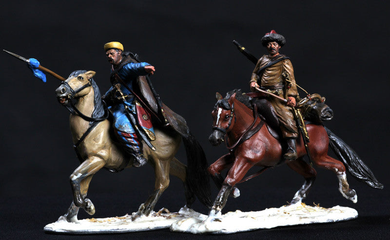 MMSP10 - Set of two Charging Russian Cavalry, Retreat from Moscow by Manes Marzano - Piers Christian Toy Soldiers