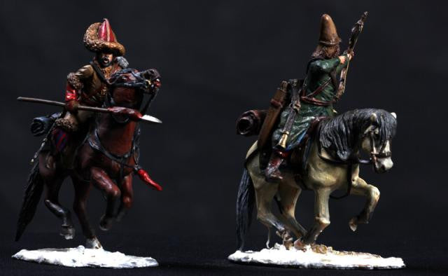 MMSP11 - Two mounted Russian Cavalry, Retreat from Russia from Manes Marzano - Piers Christian Toy Soldiers