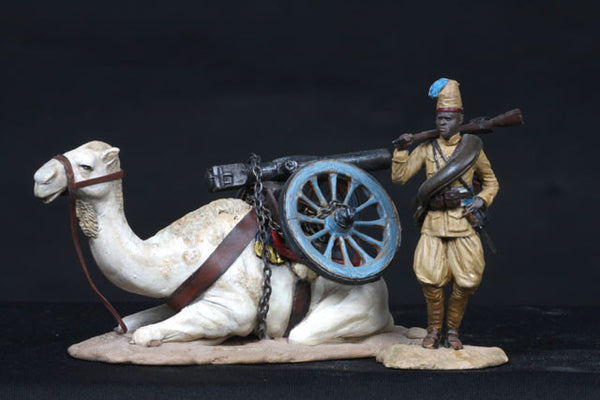 MM60-9 - Askari Artillery Camel Corps Soldier with Camel and Cannon, from Manes Marzano - Piers Christian Toy Soldiers