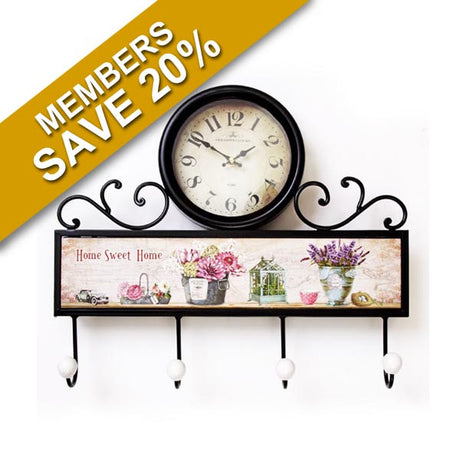 Flower Design Clock with 4 Hooks