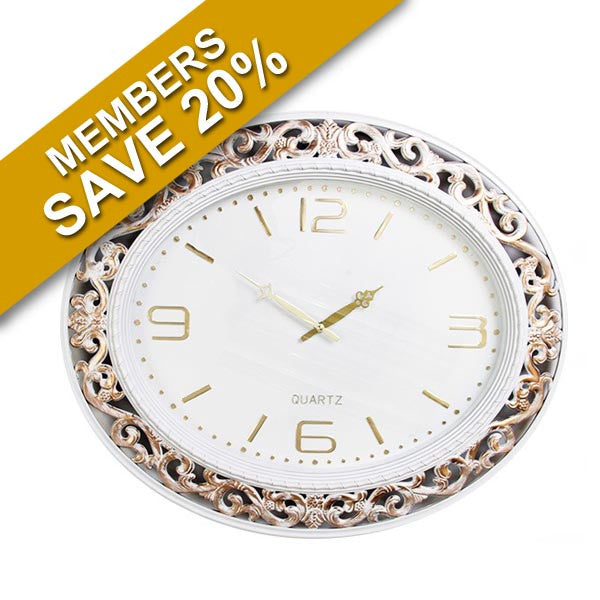 Oval White And Gold Clock