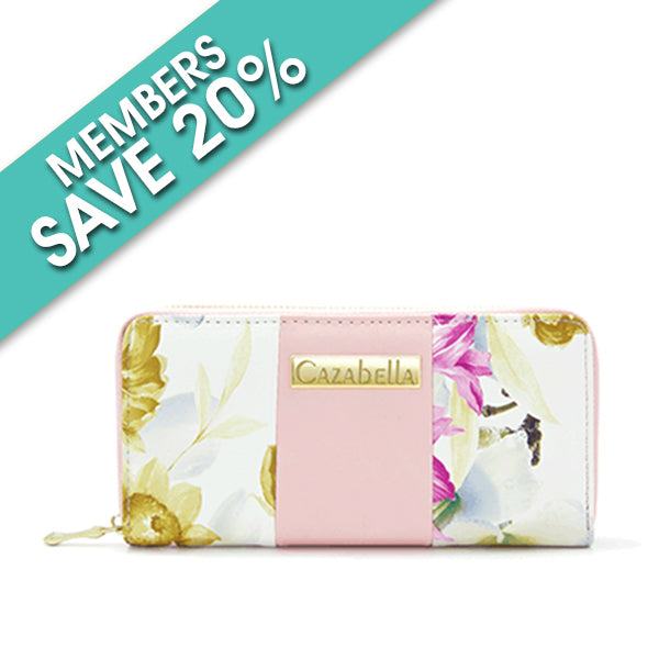 Cazabella purse: Floral print pink
