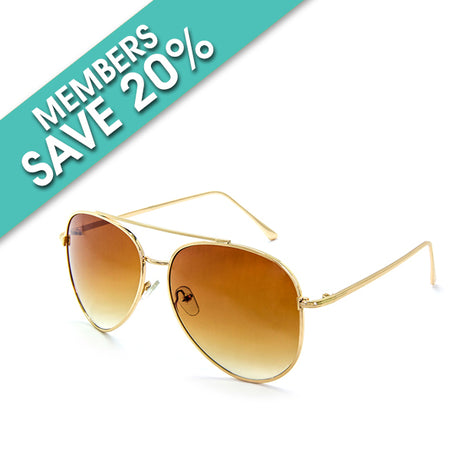 Gold Tone Aviator Sunglasses With Amber Lens