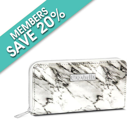 White and Grey Marble Finish Patent Purse