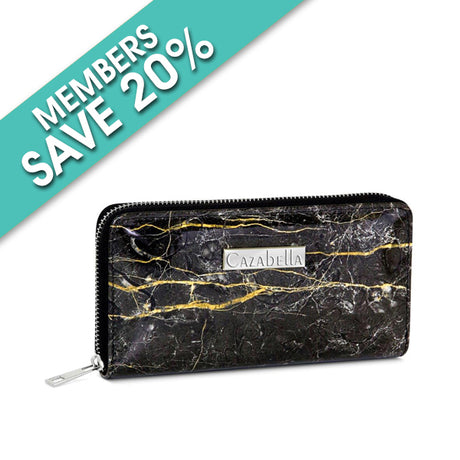 Black and Gold Marble Finish Patent Purse
