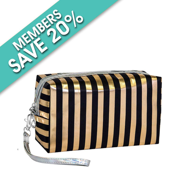 Square Rose Gold and Black Stripe Cosmetic Bag