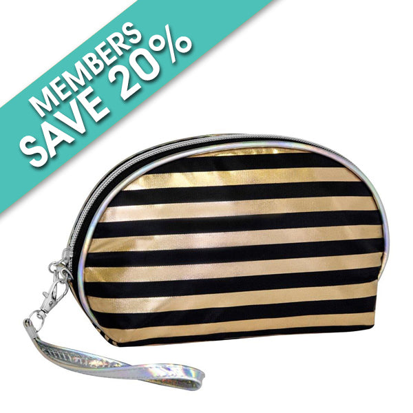 Oval Rose Gold and Black Stripe Cosmetic Bag