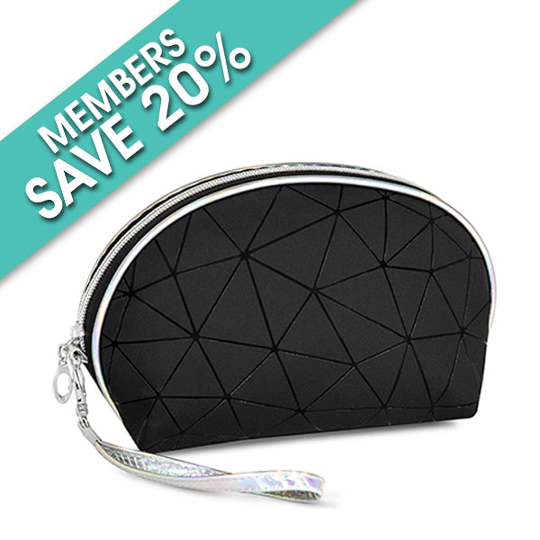 Oval Black Geometric Design Cosmetic Bag