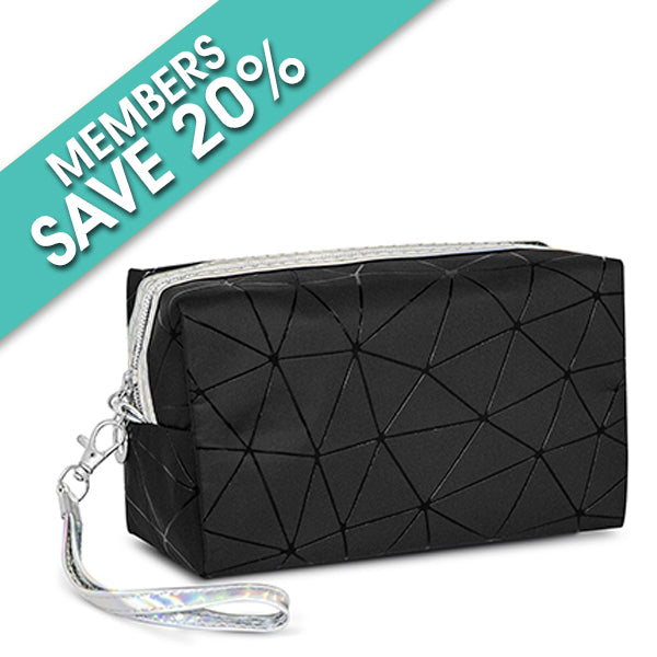 Square Black Geometric Design Cosmetic Bag