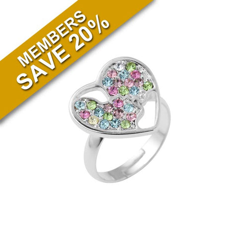 Cazabella Coloured Crystal Heart Shaped Ring