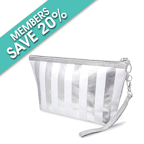 Make up bag: Silver and white