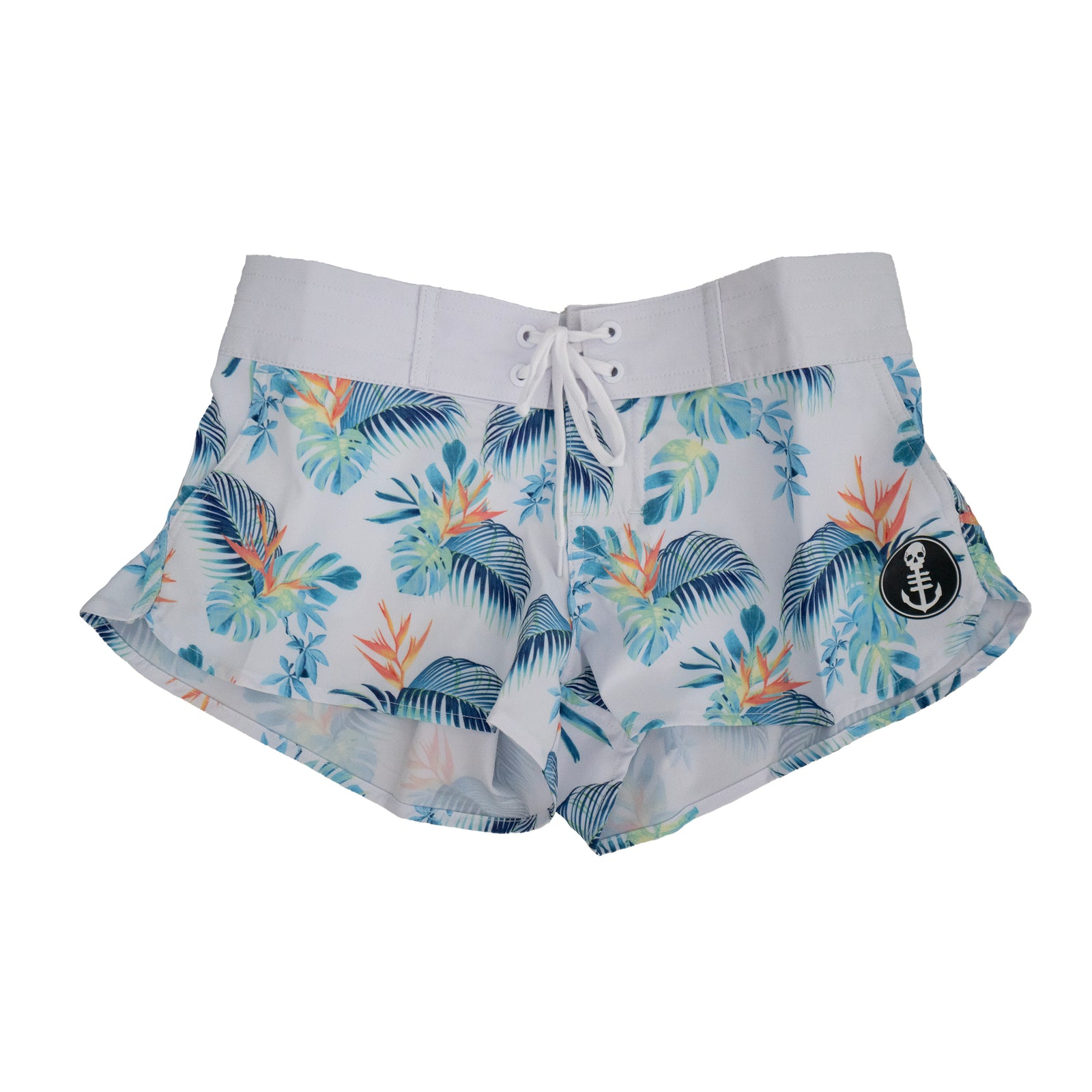 Women's White Floral Drawstring Boardshorts