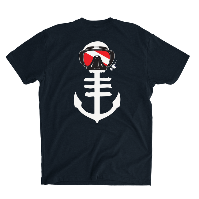 Men's Black T-Shirt with Dive Mask of Anchor Icon