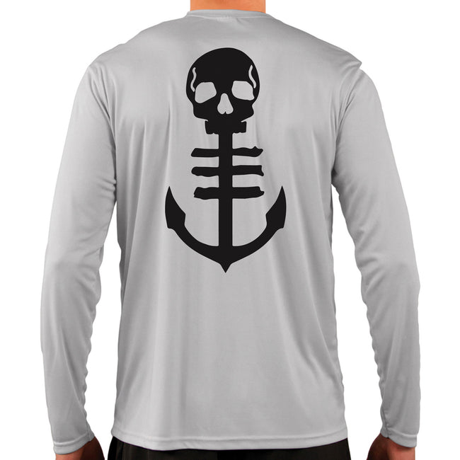 Back of Men's Grey UPF Performance Shirt with Anchor Logo