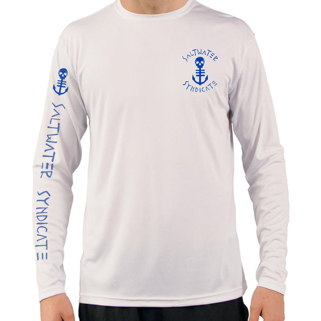 Front View of Men's White UPF Performance Shirt with Ocean Blue Anchor