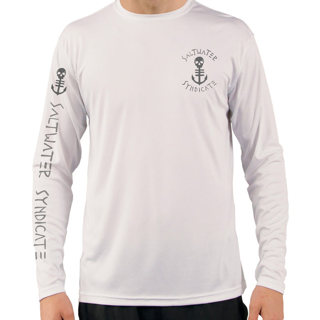 Front of Men's White UPF Fishing Shirt with Small Grey Anchor on Front and Sleeve