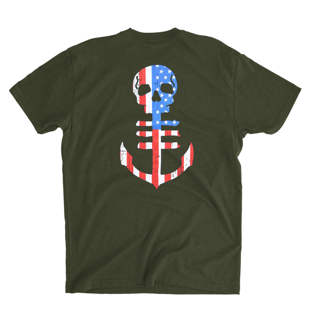 Men's Military Green T-Shirt with USA Flag Anchor