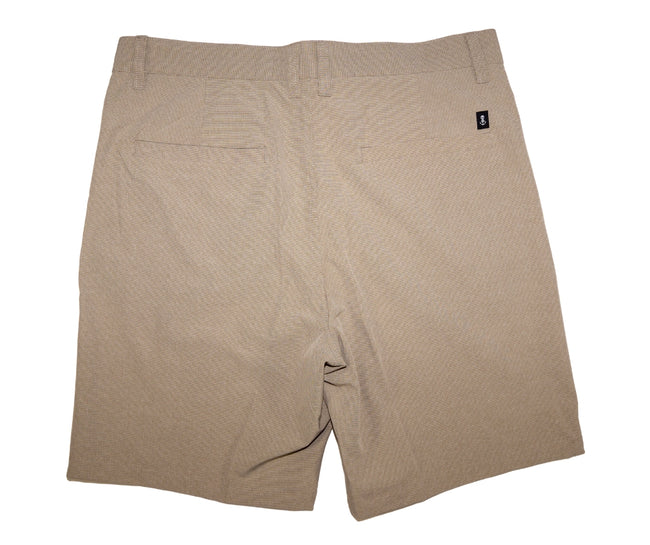 Back of Men's Sand Colored Walk Shorts with Small Anchor Icon Above Back Pocket