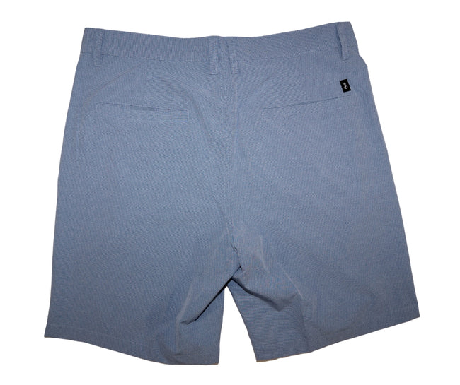 Back of Men's Blue Walk Shorts With 2 Back Pockets