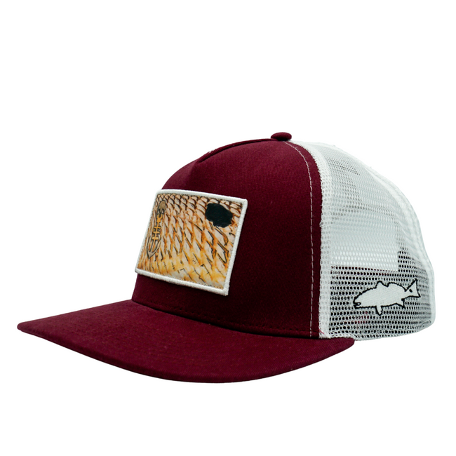 Side View of Redfish Scales Crimson Hat