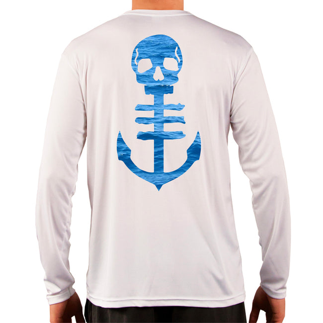 Men's White UPF Performance Shirt with Open Ocean Blue Anchor