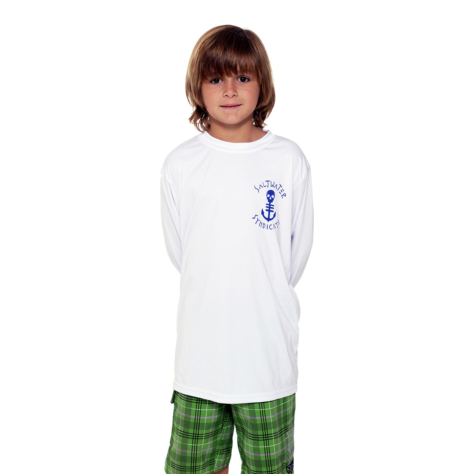 Youth Performance UPF- White/Deep Blue - Saltwater Syndicate - 2