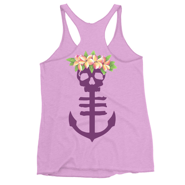 Women's Purple Tank Top with Floral Anchor Icon