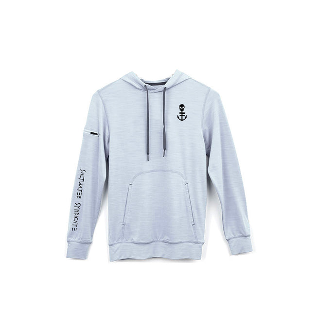 Men's Grey Performance Hoodie with Small Black Anchor, Shoulder Zipper Pocket, and Front Pouch