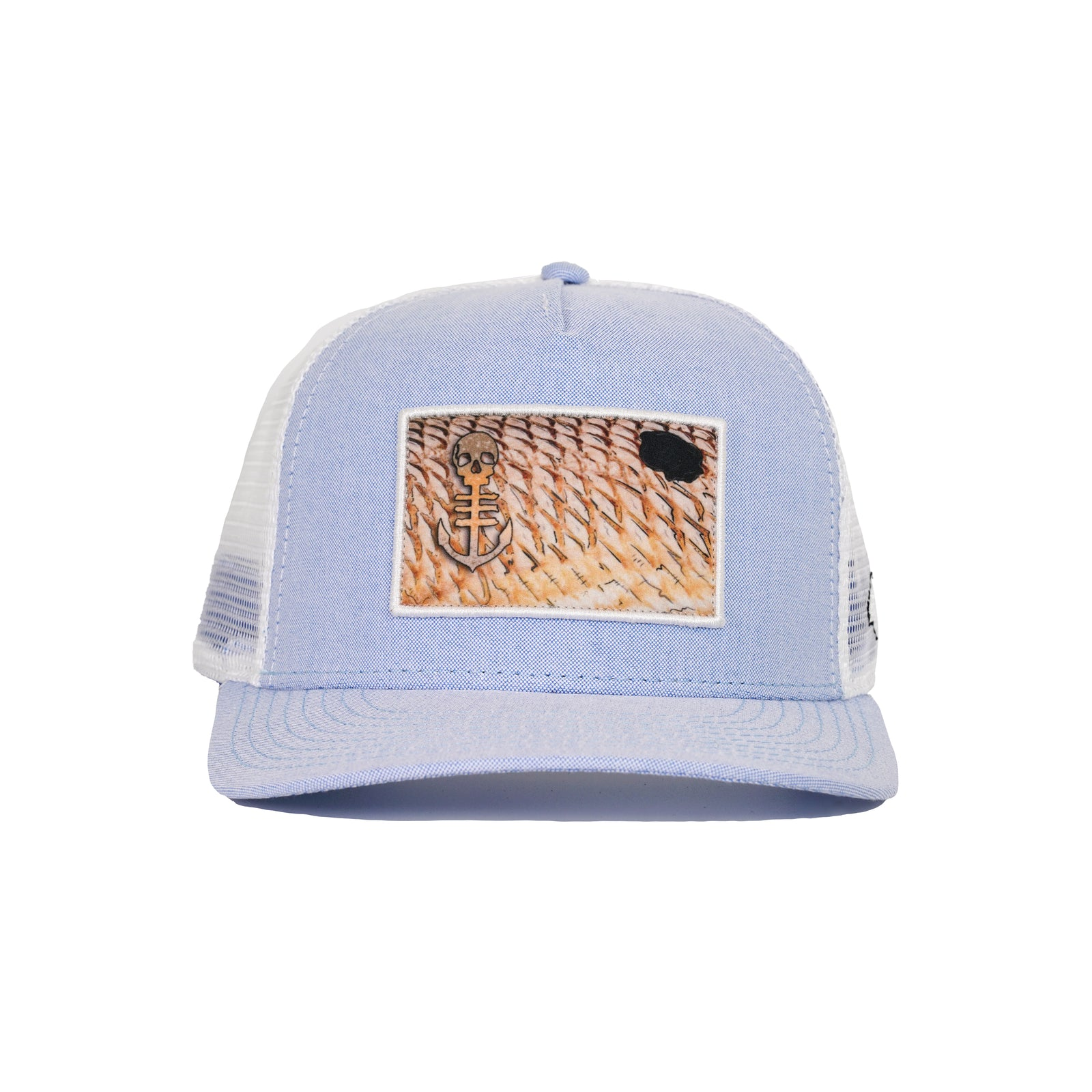 Blue Hat with Redfish Scales Embroidered Patch