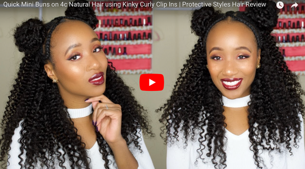 By @Aseamae : Quick Mini Bun Tutorial Using Kinky Curly Clip-Ins (Full Tutorial)