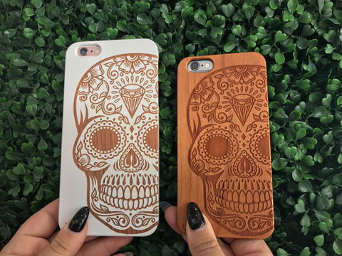Sugar Skull Wooden iPhone Cases