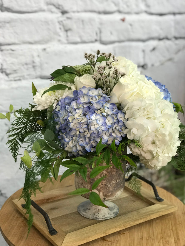 Hydrangea and Roses in Chelsea Vase