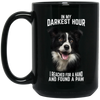 Darkest Hour Border Collie 15 oz. Black Mug