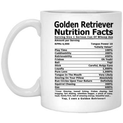 Golden Retriever Nutrition Facts Coffee, Tea Mug