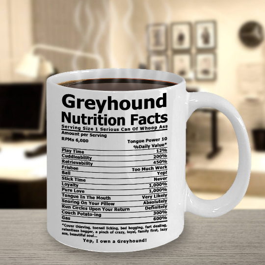 Greyhound Nutri Facts White Mug